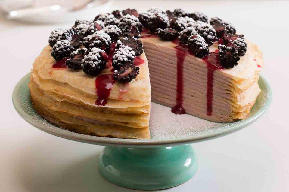 Black raspberry crepe cake