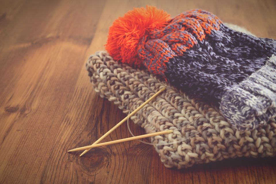 Knitting needles with hat and scarf