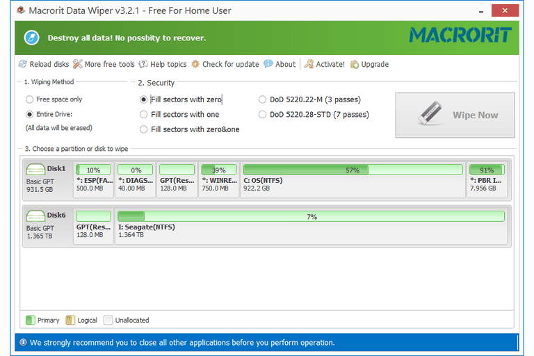 Screenshot of Macrorit Data Wiper v3.2.1 in Windows 8