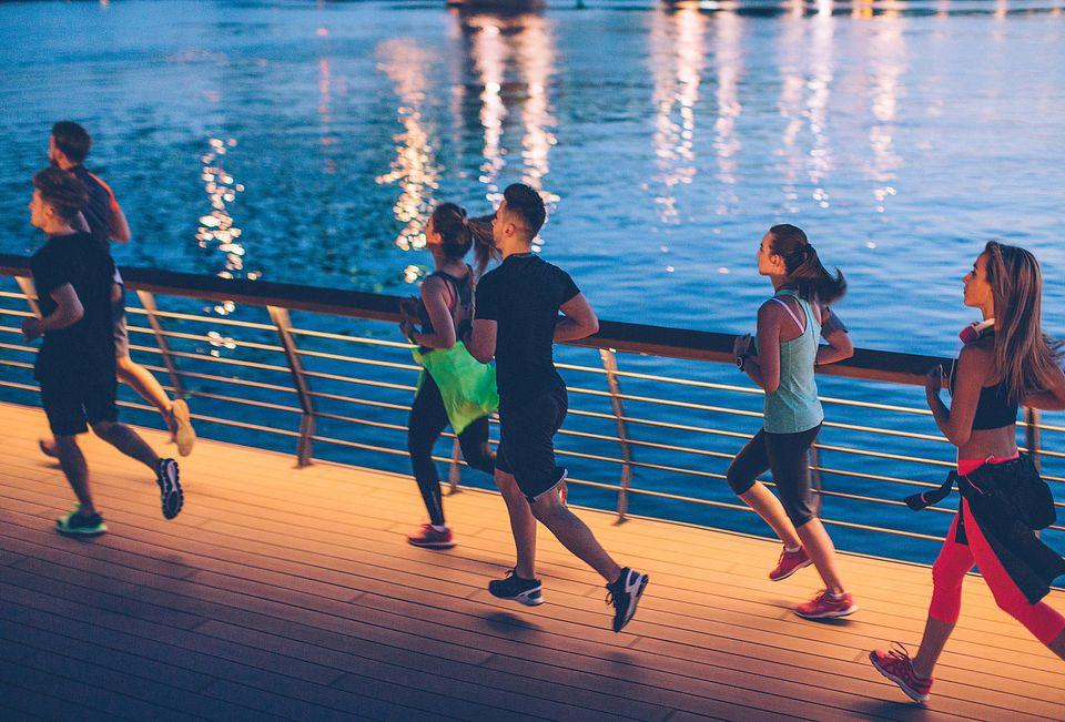 joggers at night