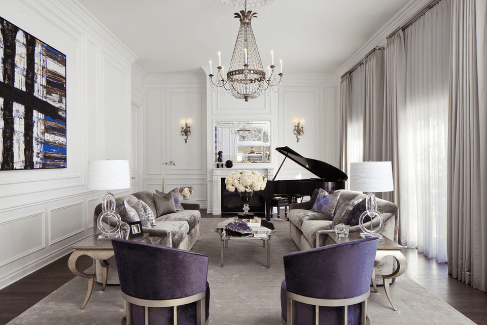 chandelier living room. Elegant living room with chandelier and sconces 15 Beautiful Living Room Lighting Ideas