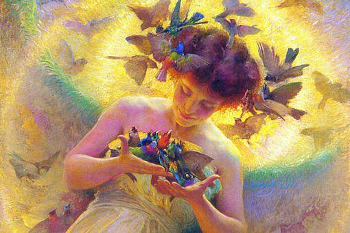 The angel of the birds by Franz Dvorak, 1910.