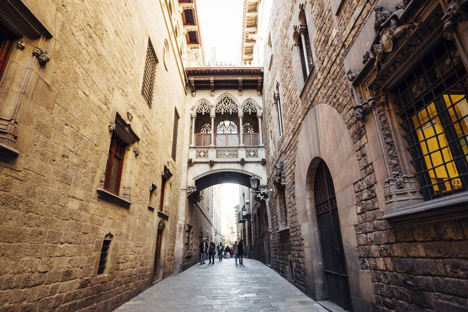 Gothic Quarter (Barri Gotic) in Barcelona, Catalonia, Spain