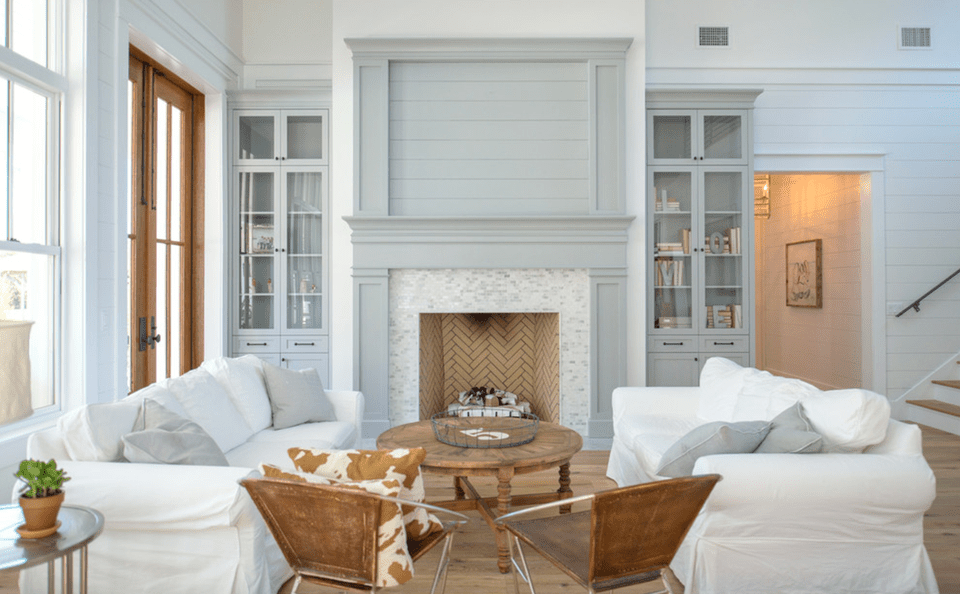 Pale blue and white farmhouse living room
