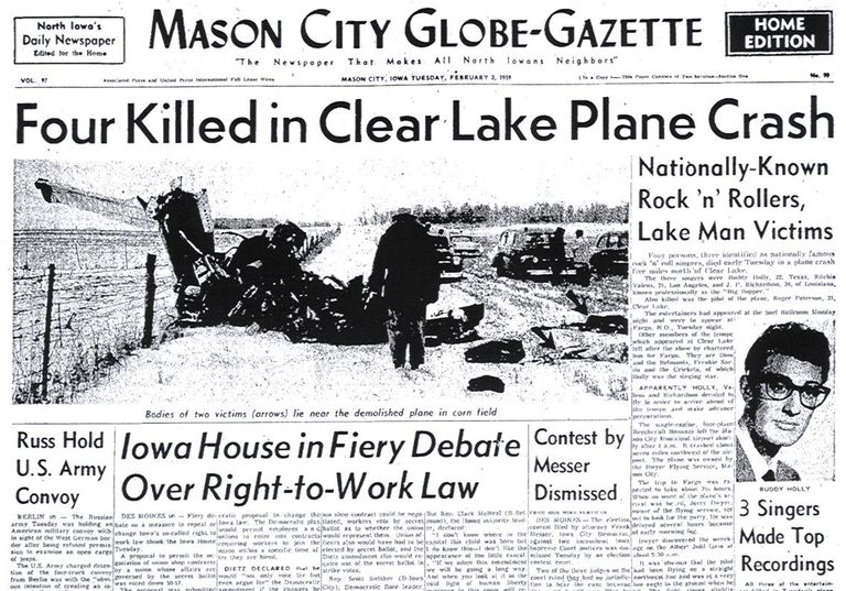 A local paper the morning after the Buddy Holly plane crash