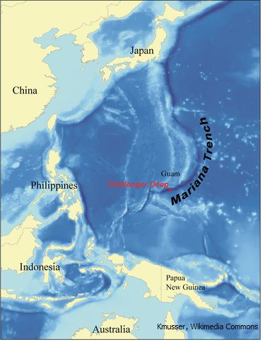 Mariana Trench Map / Kmusser, Wikimedia Commons