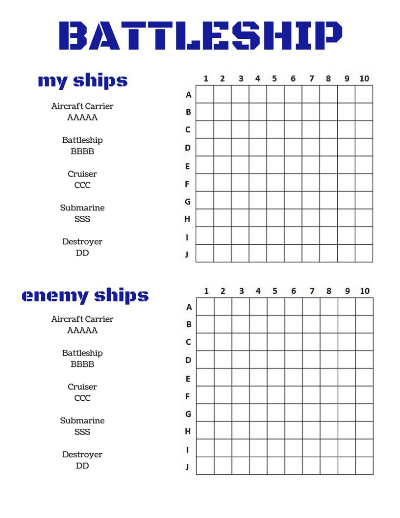 It is a photo of Amazing Battleship Game Printable