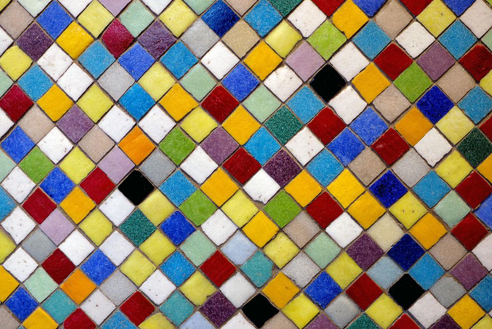 Multi-coloured ceramic tiles.