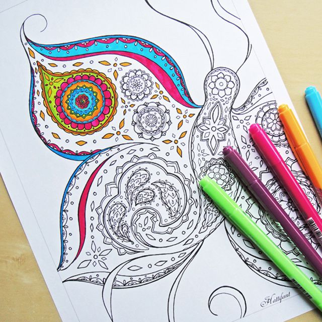 A Butterfly Coloring Page For An Adult Partially Colored In