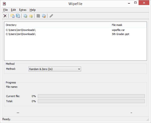 Screenshot of WipeFile v2.4.0.0