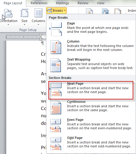 how to delete blank page at end of word document