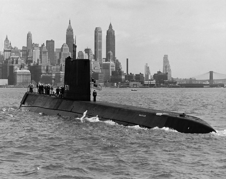 Submarine in the sea, USS Nautilus (SSN-571), Nuclear-Powered Submarine, New York City, New York State, USA