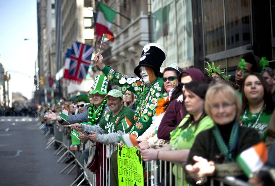 Crowds at the St. Patrick's Day Parade in NYC