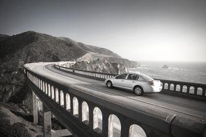 Car crossing Bixby bridge, Big Sur.