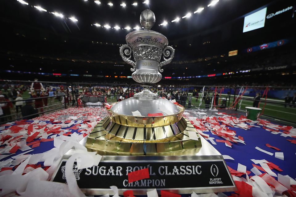 The Sugar Bowl Classic trophy is seen after the Alabama Crimson Tide beat the Clemson Tigers at the Mercedes-Benz Superdome on January 1, 2018 in New Orleans, Louisiana.