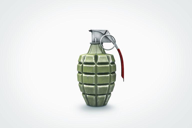 hand grenade on white background