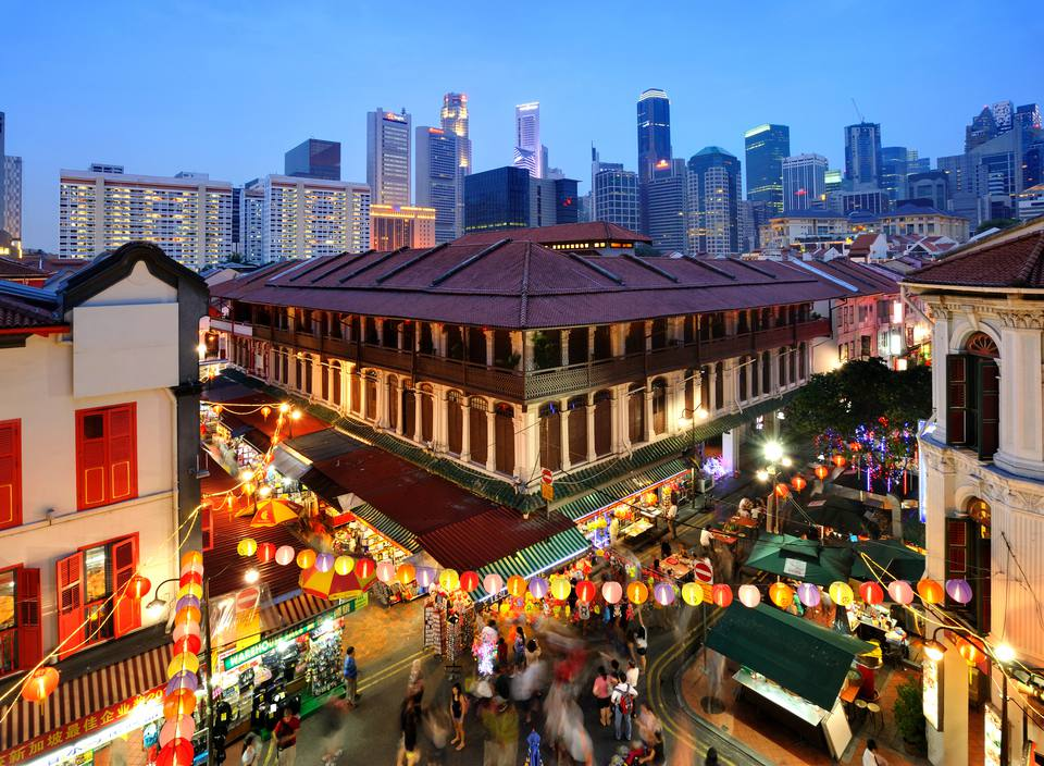 View of cityscape in mid autumn festival at night, Singapore.