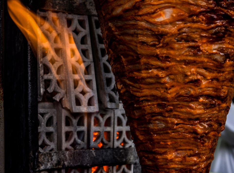 View Of Shawarma Against Flame