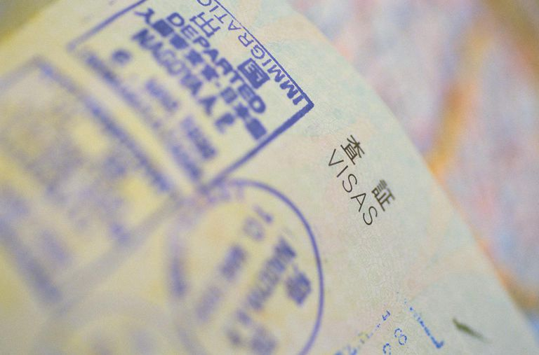 Detail of Visa Stamps in a Japanese Passport