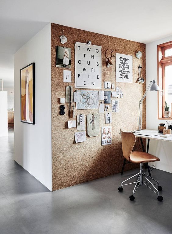 cork wall home office
