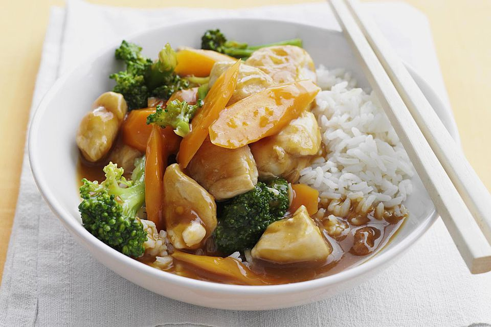 Bowl of sweet and sour chicken with rice