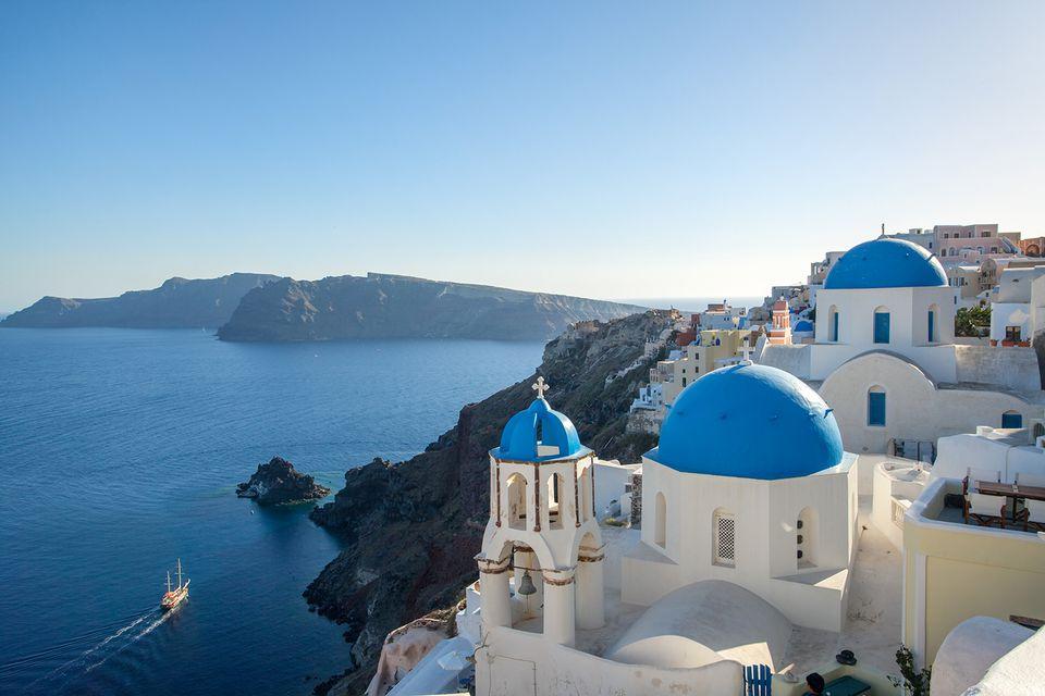 Blue sea in summer, greek islands, Santorini.