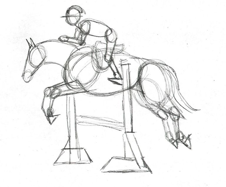 Draw a horse show jumper in colored pencil the preliminary structural sketch of horse and rider ccuart Gallery