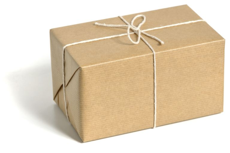 Package wrapped in brown paper with white string