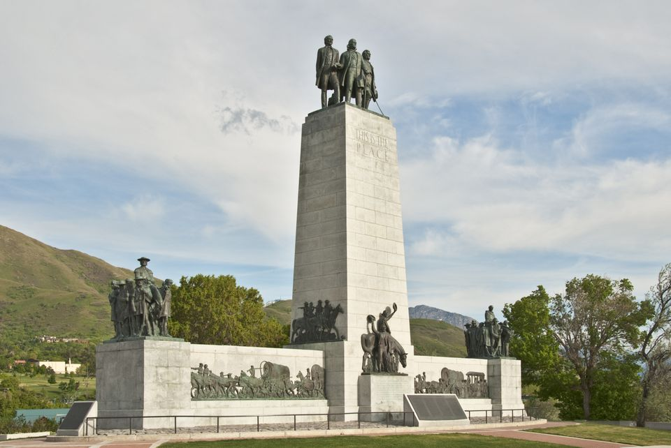 Monument marking place where Mormon pioneers first entered Salt Lake Valley, This Is The Place Heritage Park.