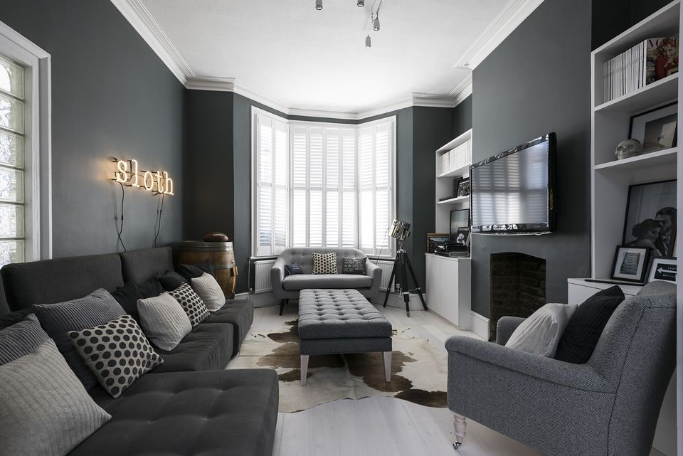 Gray living room ideas - Grey and black living room pictures ...