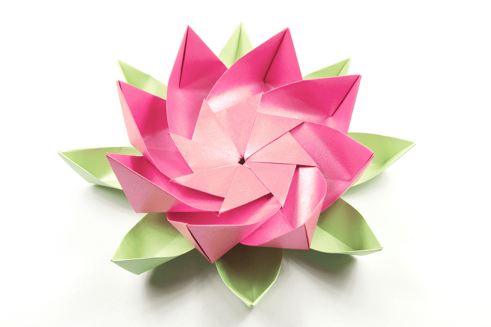 Modular origami lotus flower for How to make a lotus with paper