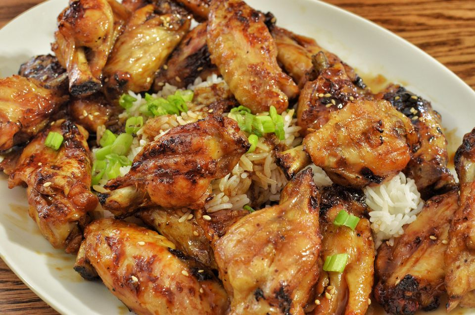 Wings with a soy/honey glaze