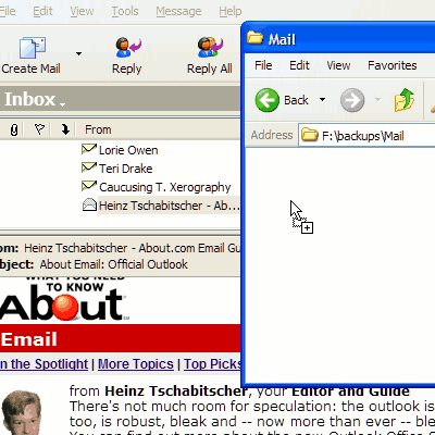 Highlight and grab the message with the mouse