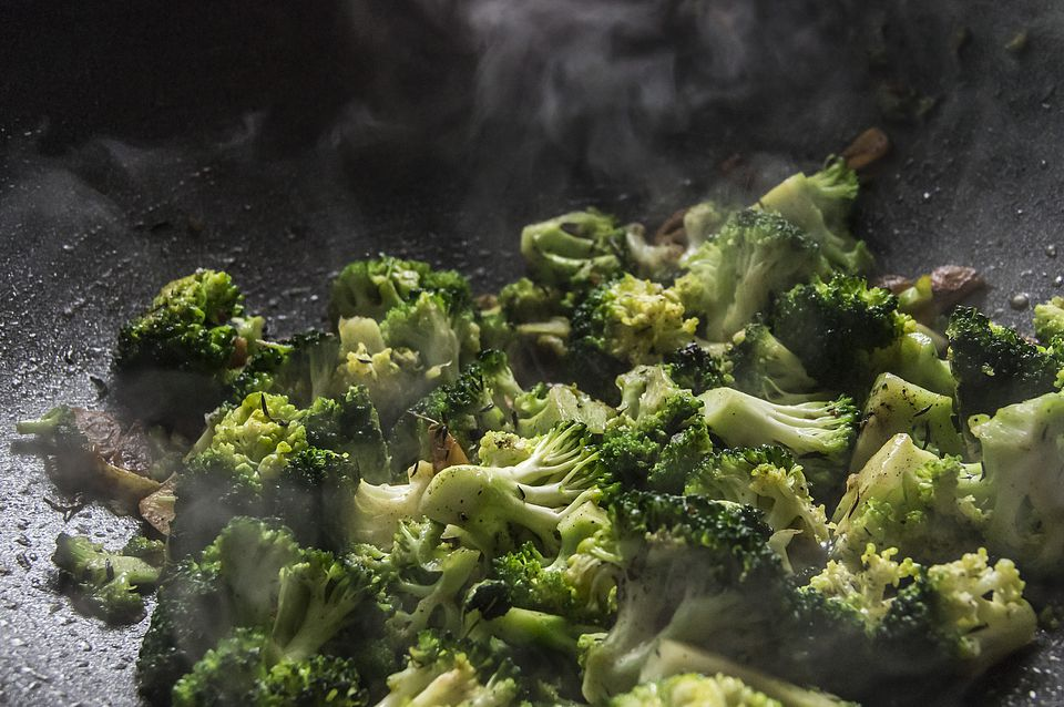 Broccoli with garlic in a frying pan