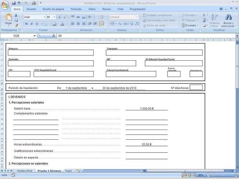 Cómo hacer una nómina con Excel