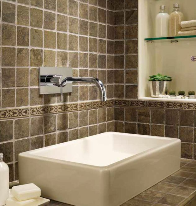 tumbled stone porcelain bathroom counter tile - Tile Bathroom Countertop