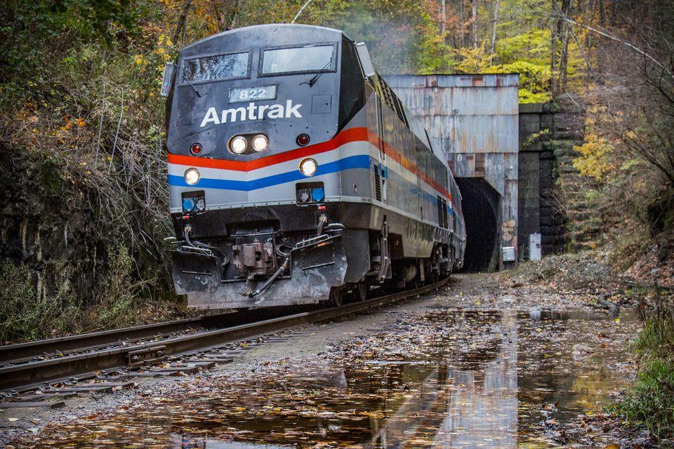 Amtrak train autumn
