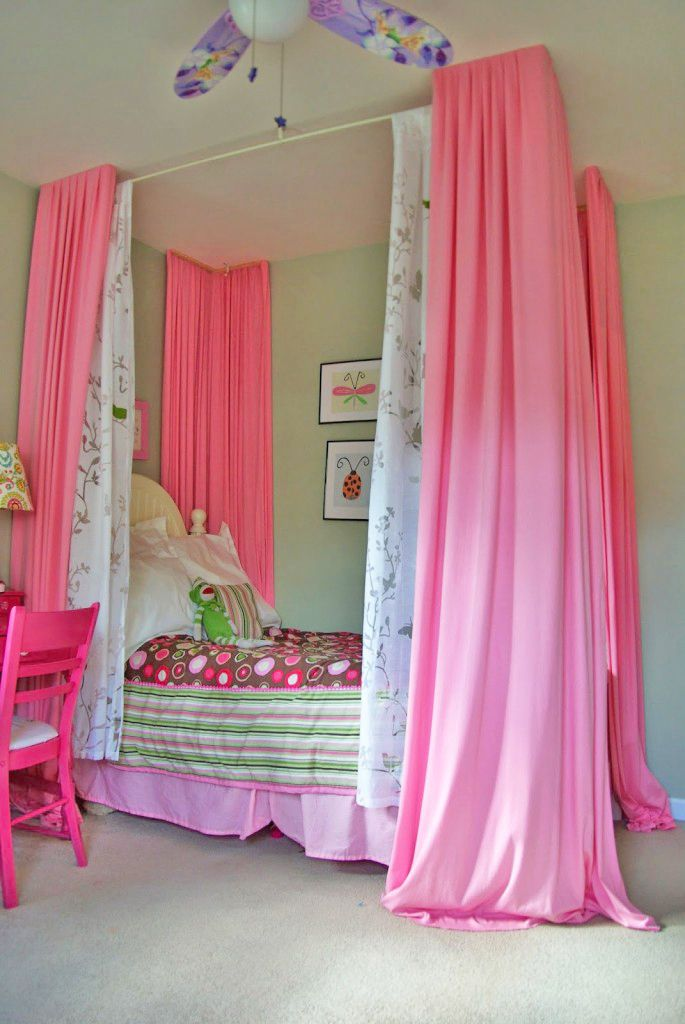 DIY canopy bed idea for girl's room.