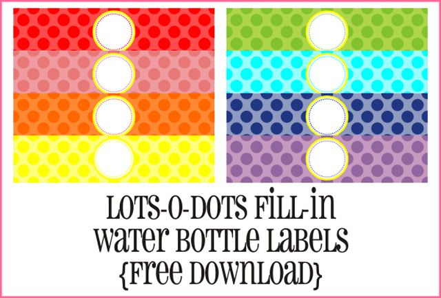 water bottle labels with polka dots - Name Tag Design Ideas