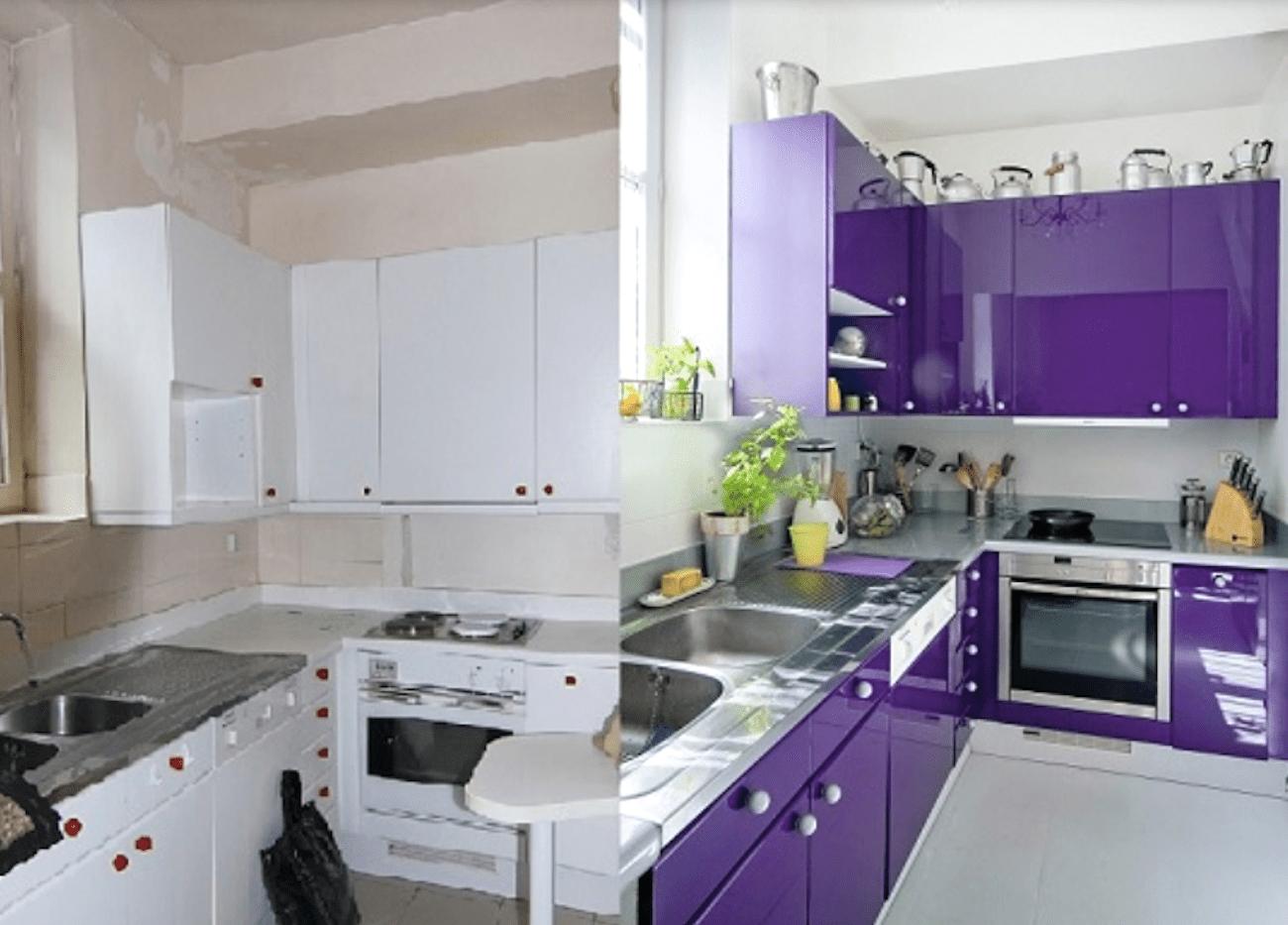 Vistoso Manchando Muebles De Cocina Antes Y Después De Fotos Bandera ...