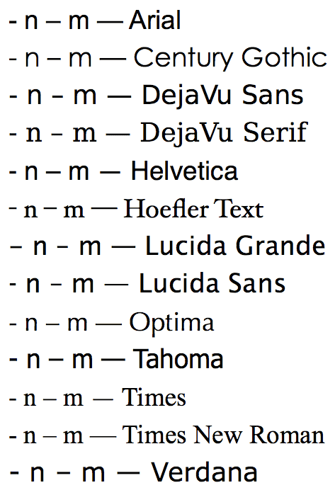 Comparison of hyphen, en dash, and em dash, and letters n and m, in various fonts.