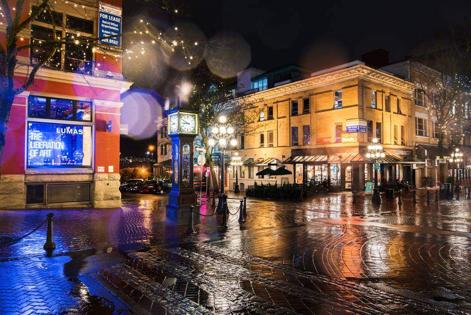 Gas Town at a rainy night