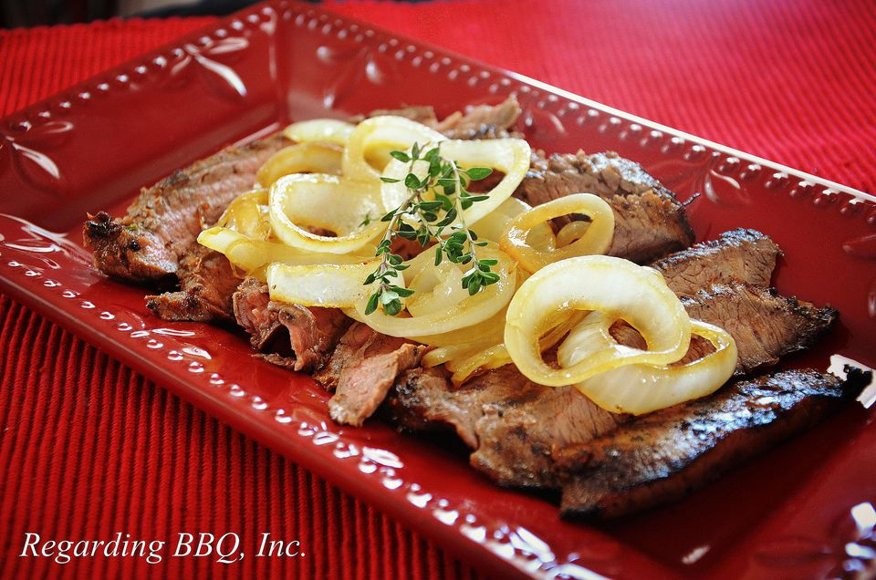 Grilled Flank Steak with Onions