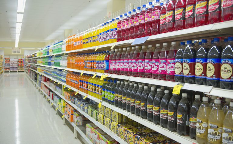 Soda on shelves at supermarket