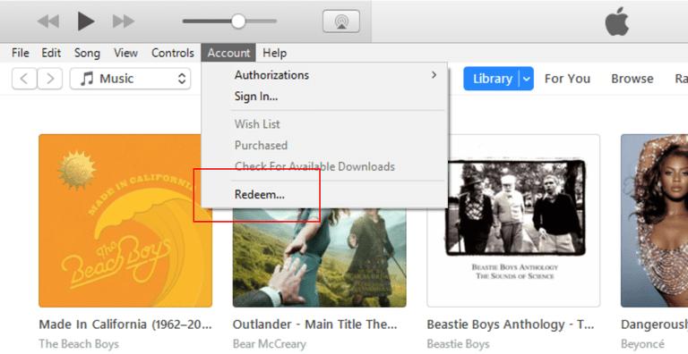 redeeming iTunes gift card