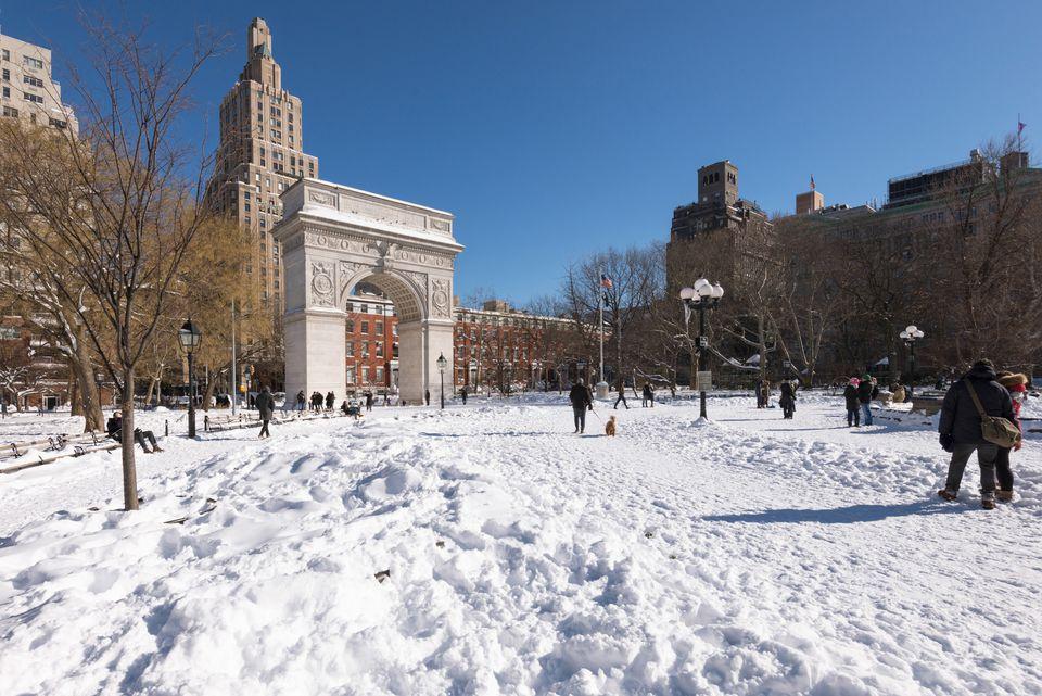 Washington Square Park snow