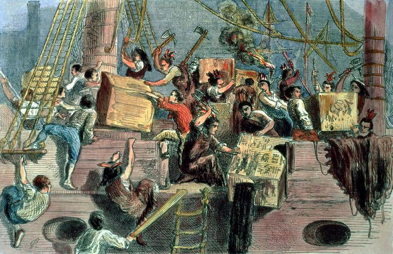 Boston Tea Party; the 'Boston Boys' throwing the taxed tea into the Charles River, 1773 (hand coloured print)