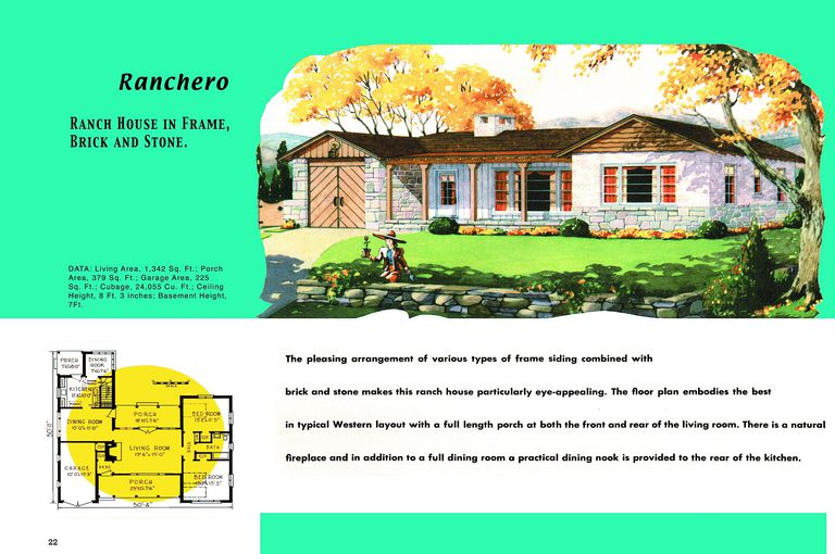 1950s floor plan and rendering of ranch style house aptly named ranchero - Brick A Frame House Plans