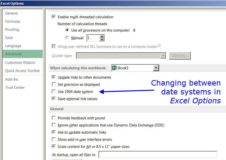Changing the Date System for Dates and Times in Excel