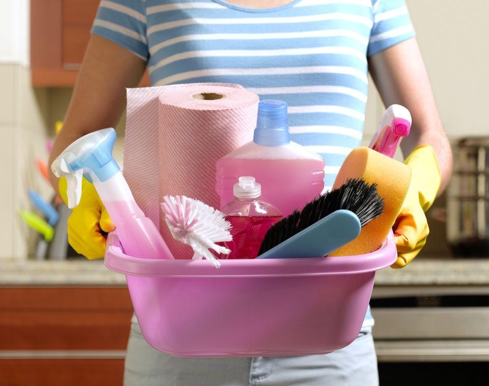 Girl preparing to spring clean